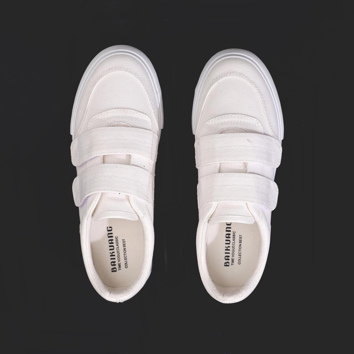 白色帆布鞋 2018夏季新款魔术贴小白鞋女韩版百搭学生平底帆布鞋女白色布鞋潮_推荐淘宝好看的白色帆布鞋
