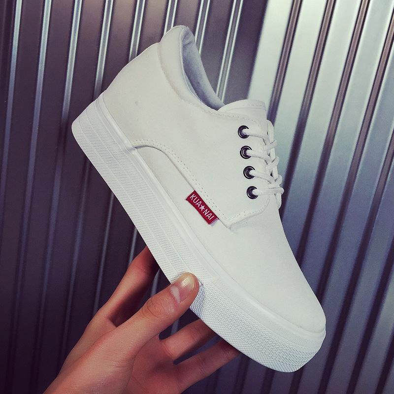 白色厚底鞋 韩版潮白色帆布鞋女厚底松糕底内增高2018新款布鞋黑色百搭小白鞋_推荐淘宝好看的白色厚底鞋