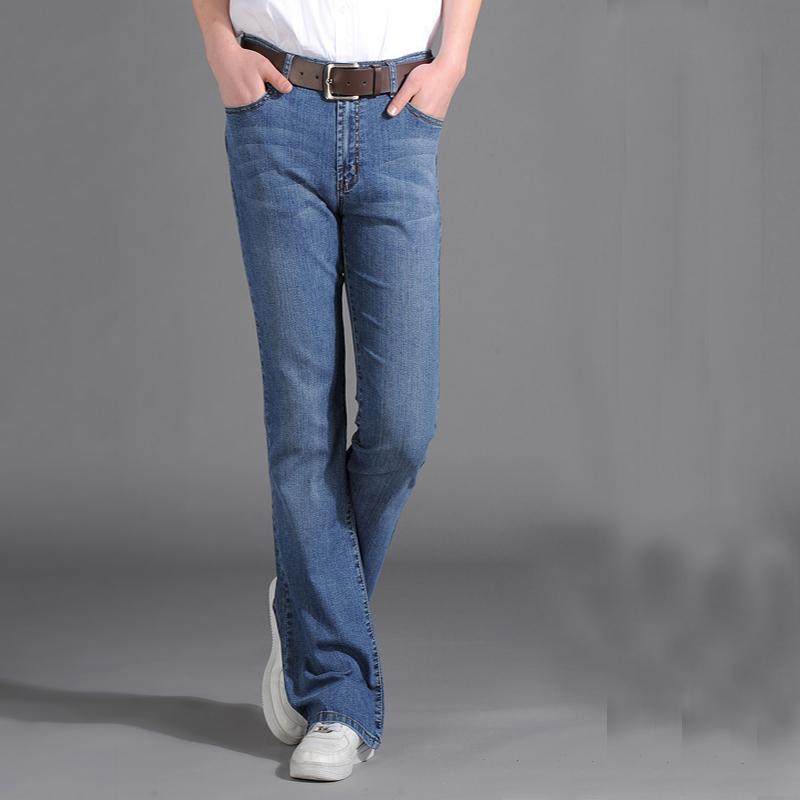 男士浅蓝色牛仔裤 18春夏男装新款微喇叭牛仔裤子男弹力修身牛仔喇叭长裤子 男_推荐淘宝好看的男浅蓝色牛仔裤
