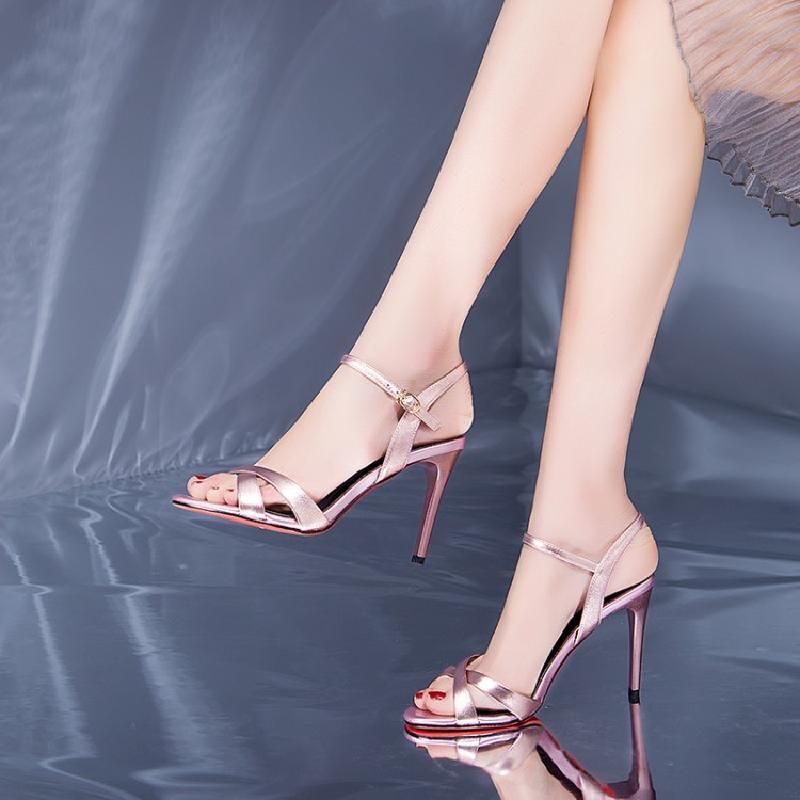 粉红色凉鞋 简约粉红色高跟凉鞋女细跟9CM真皮单跟一字扣礼服鞋2018春夏新款_推荐淘宝好看的粉红色凉鞋