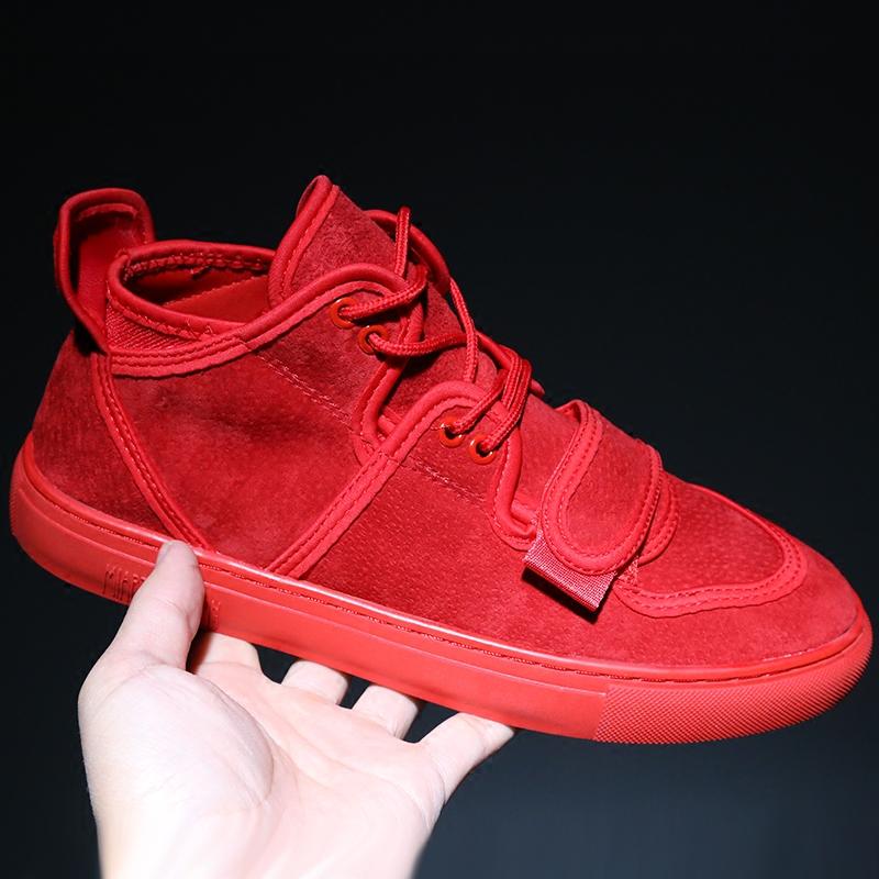 红色高帮鞋 2017冬季加绒保暖二棉鞋子男士韩版潮流红色小丑鞋真皮高帮板鞋男_推荐淘宝好看的红色高帮鞋