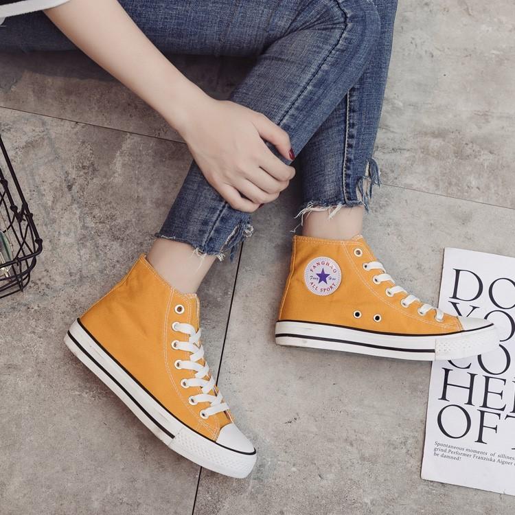 紫色帆布鞋 紫色高帮帆布鞋女2018新款韩版百搭原宿ulzzang潮学生板鞋子布鞋_推荐淘宝好看的紫色帆布鞋
