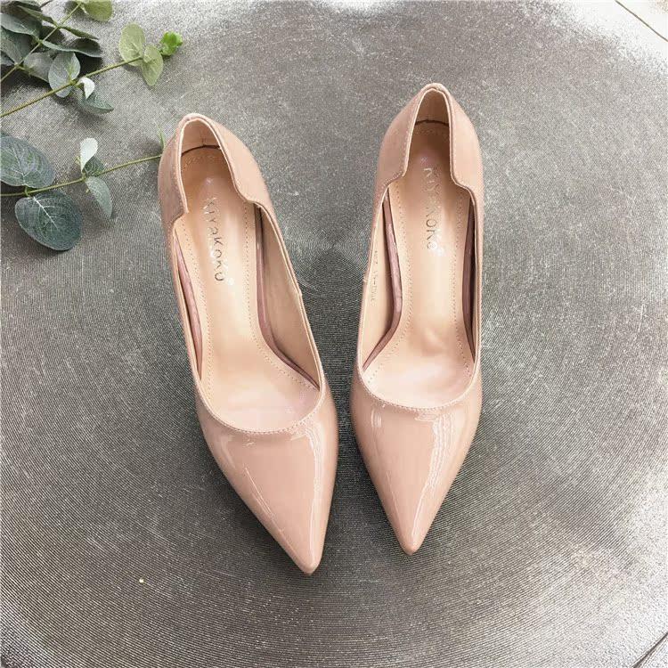 粉红色高跟鞋 欧美时尚粉红色尖头细跟高跟鞋女浅口漆皮尖头女鞋黑色OL女单鞋_推荐淘宝好看的粉红色高跟鞋