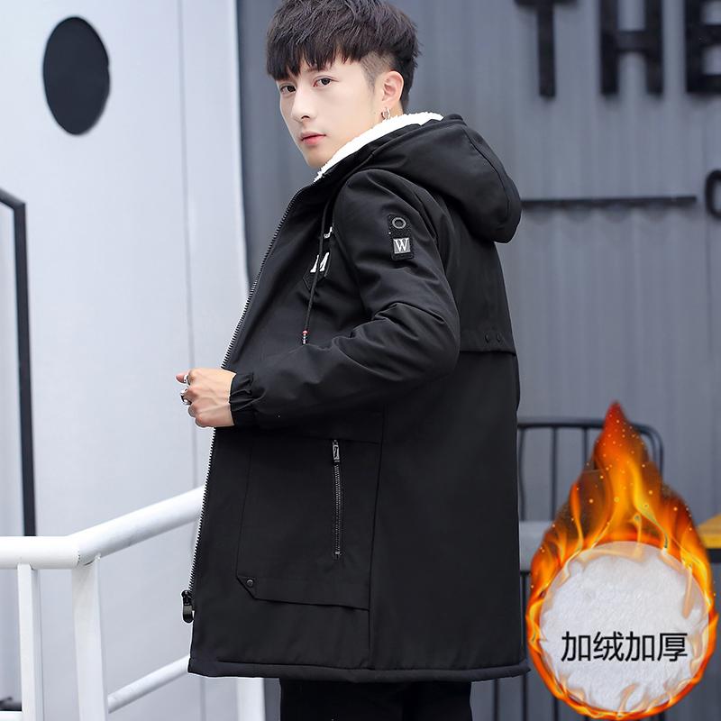 外套夹克 青少年外套秋冬季加绒加厚夹克保暖衣服中长款风衣男羊羔绒棉衣潮_推荐淘宝好看的男外套夹克