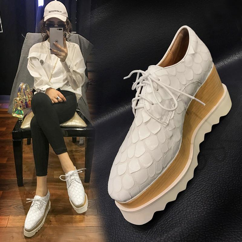 白色高跟鞋 2018秋季新款坡跟单鞋女真皮方头厚底系带松糕鞋白色英伦高跟女鞋_推荐淘宝好看的白色高跟鞋