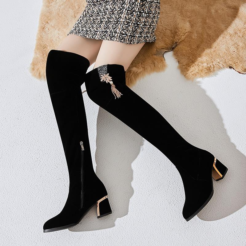 高跟靴 秋冬款高跟女靴女士粗跟靴子圆头高筒过膝靴显瘦长靴大码33-43码_推荐淘宝好看的女高跟靴