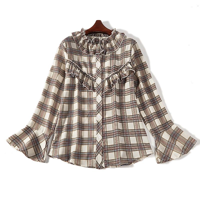女格子衬衫 2018新款chic格子衬衫女复古长袖宽松学生上衣潮6556_推荐淘宝好看的女格子衬衫