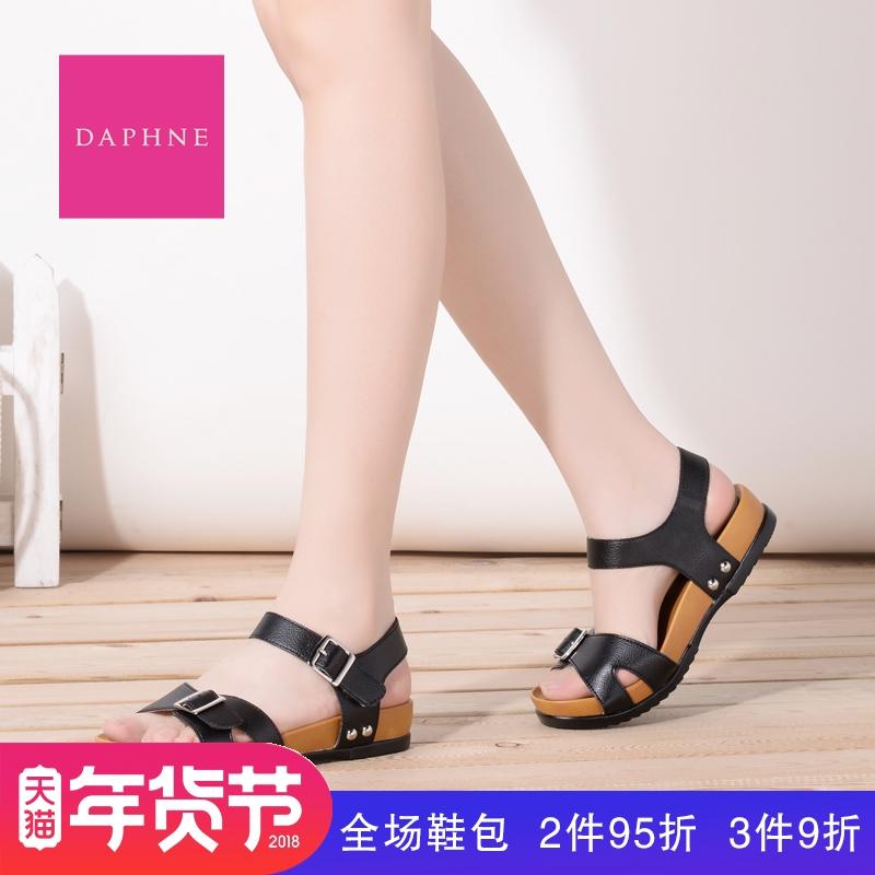 达芙妮罗马鞋 Daphne达芙妮夏季新款平底低跟露趾罗马风女凉鞋1016303055_推荐淘宝好看的达芙妮罗马鞋