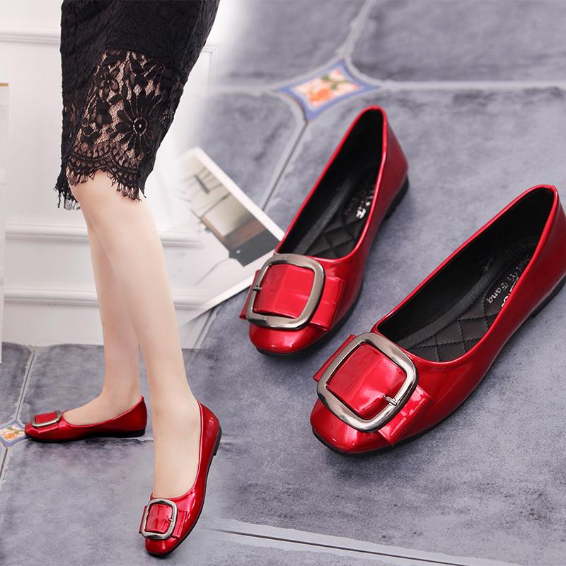 红色单鞋 红色单鞋女平底浅口平跟时尚软底孕妇鞋舒适工作鞋2018新款豆豆鞋_推荐淘宝好看的红色单鞋