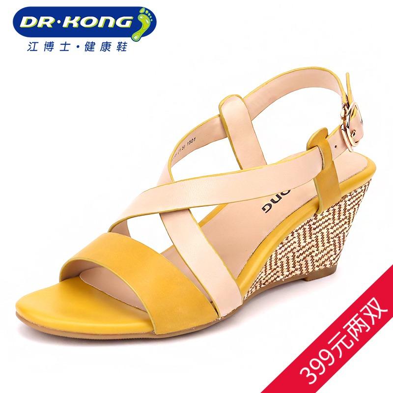 女凉鞋 Dr.Kong江博士坡跟厚底凉鞋女夏露趾女凉鞋S300062_推荐淘宝好看的女凉鞋