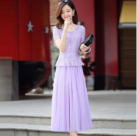 白色蕾丝连衣裙 新款夏季装韩版修身显瘦甜美网纱拼接蕾丝长裙短袖雪纺连衣裙_推荐淘宝好看的白色蕾丝连衣裙