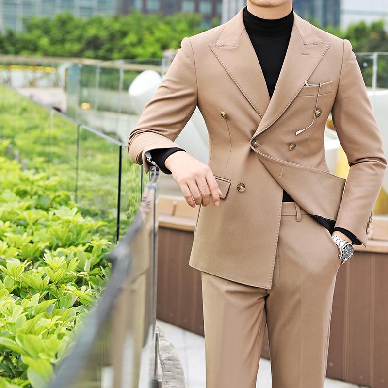 韩版男士小西装 商务休闲双排扣春夏西装男士韩版修身时尚绅士长袖英伦百搭西服潮_推荐淘宝好看的韩版男士西装