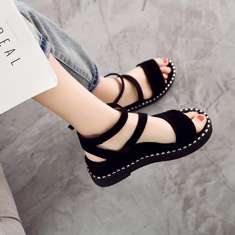 坡跟罗马鞋 厚底凉鞋女夏2019新款一字扣凉鞋女平底学生韩版松糕罗马坡跟凉鞋_推荐淘宝好看的坡跟罗马鞋