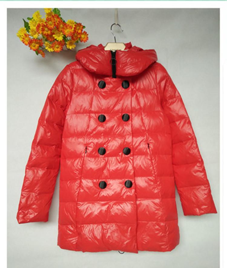 红色羽绒服 冬季新品女装韩版双排扣保暖连帽长袖百搭女式气质羽绒服_推荐淘宝好看的红色羽绒服