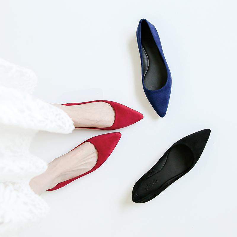 红色平底鞋 春秋新款红色单鞋女尖头浅口平底鞋绒面真皮百搭平跟工作鞋女黑色_推荐淘宝好看的红色平底鞋