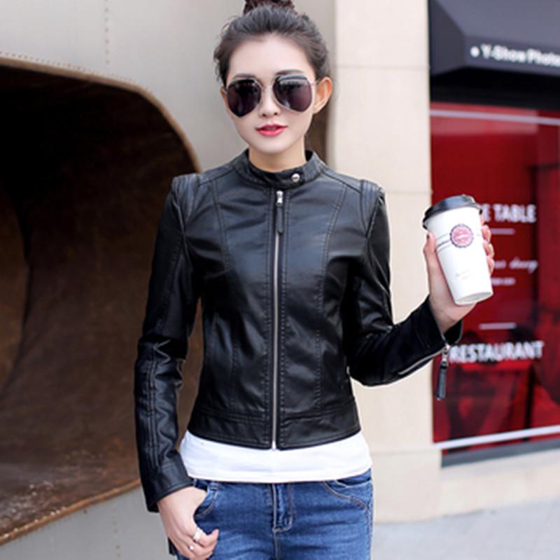 白色皮衣 天天特价新款韩版短款修身立领机车女士水洗PU皮衣大码夹克外套_推荐淘宝好看的白色皮衣