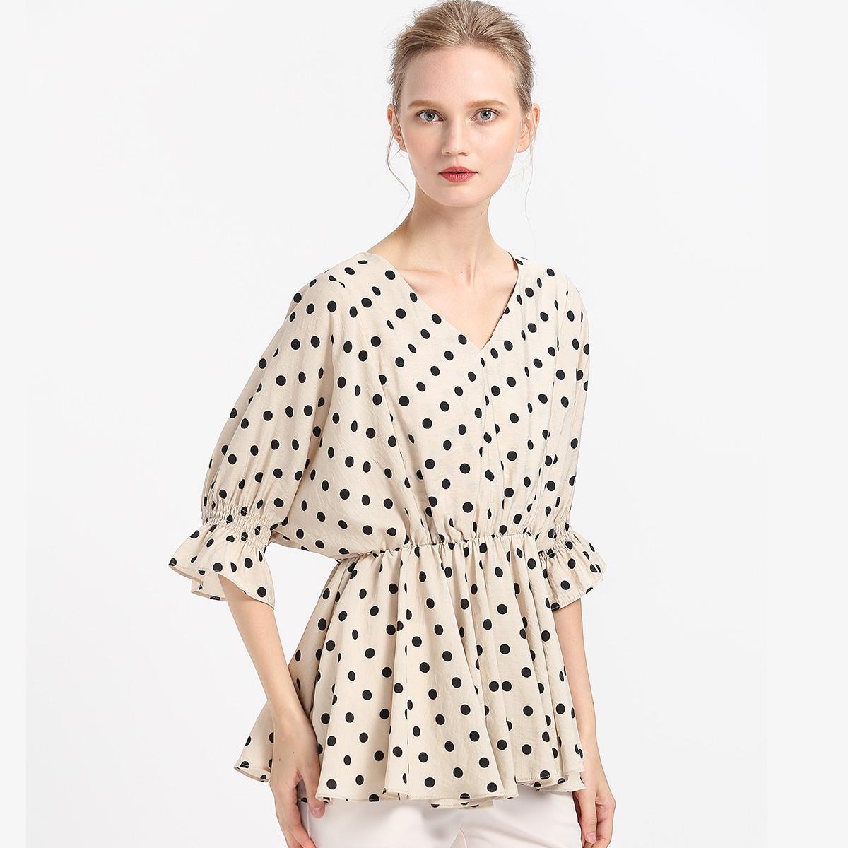 波点衬衫 2019夏季新款波点印花V领衬衫灯笼袖七分袖收腰中淑衬衣女上衣_推荐淘宝好看的女波点衬衫