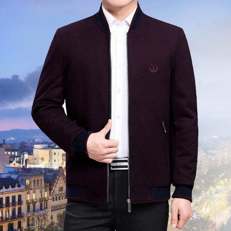 针织夹克 新款立领冬装中年男士夹克衫加绒爸爸装冬季中老年人外套针织约瑟_推荐淘宝好看的男针织夹克