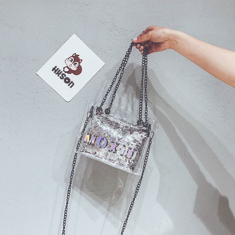 紫色链条包 上新夏天小包包女2018新款潮韩版百搭亮片链条透明果冻单肩斜挎包_推荐淘宝好看的紫色链条包