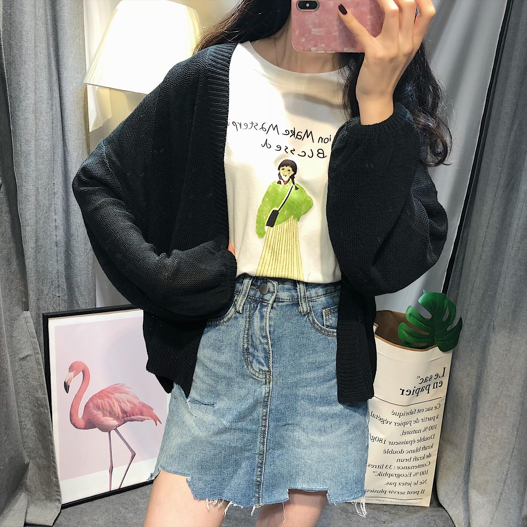 宽松可爱的针织衫外套 正义 2018春季新款宽松韩版百搭简约学生可爱毛针织开衫外套女_推荐淘宝好看的可爱针织衫外套
