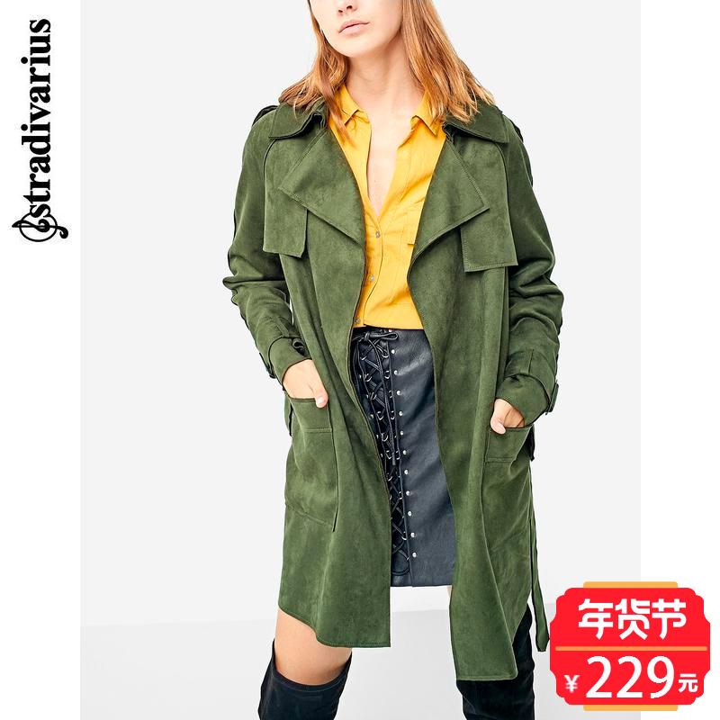 绿色风衣 秋冬折扣 Stradivarius 女装 系带风衣 05734334530_推荐淘宝好看的绿色风衣