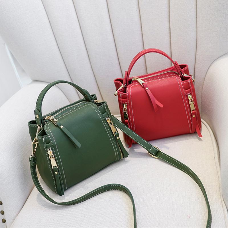红色手提包 女包2018新款韩版单肩包百搭斜挎包女迷你小包包时尚手提包水桶包_推荐淘宝好看的红色手提包