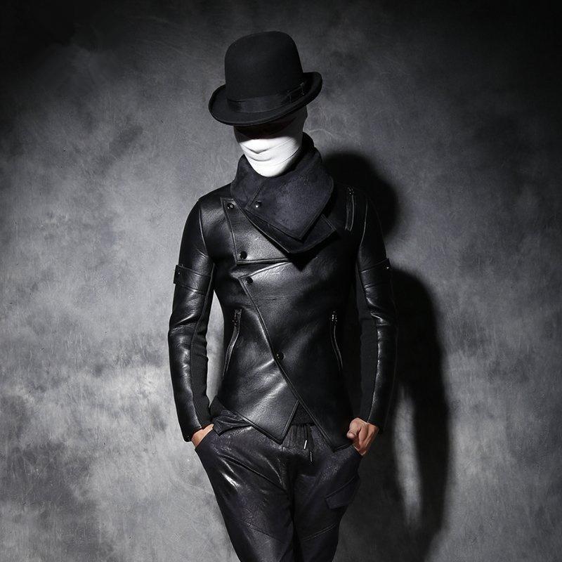 男士短款皮衣 原创冬季男个性修身皮衣发型师潮男短款加绒加厚皮夹克休闲皮外套_推荐淘宝好看的男短款皮衣