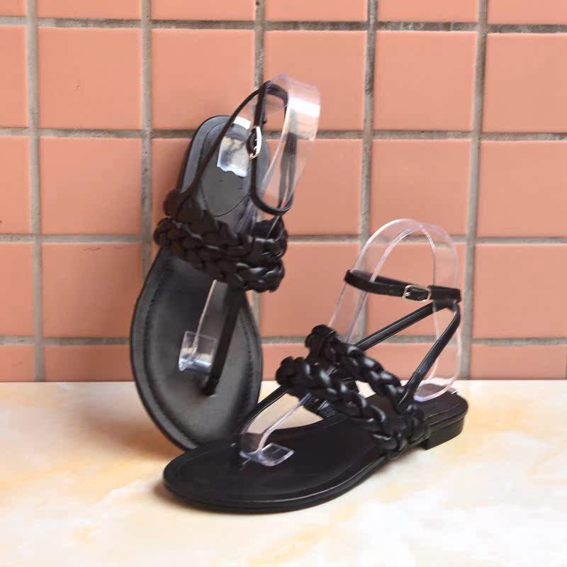 罗马鞋 夏季新款细带组合夹趾女凉鞋编织女鞋低跟罗马风格_推荐淘宝好看的女罗马鞋
