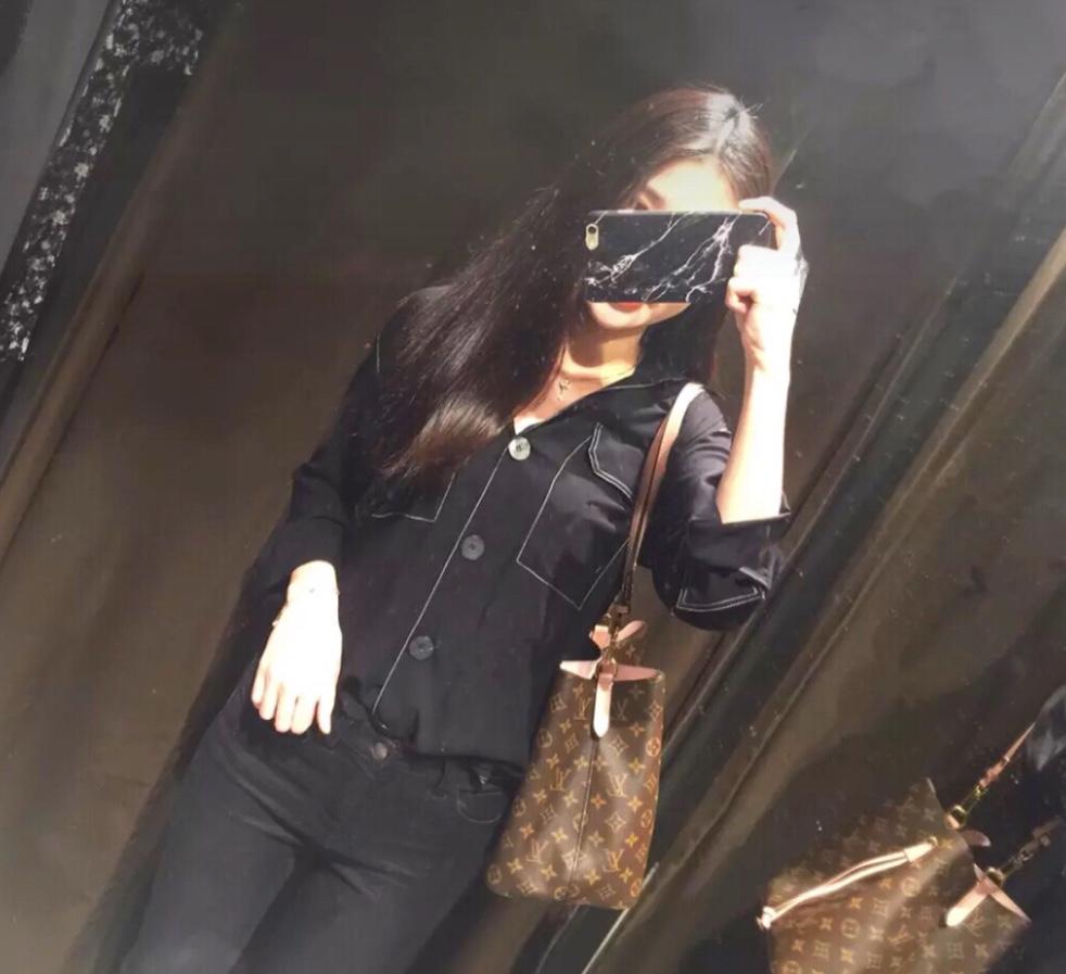 撞色衬衫 ETJ 18春季新款撞色明线长袖翻领垂性衬衫女休闲衬衣_推荐淘宝好看的女撞色衬衫