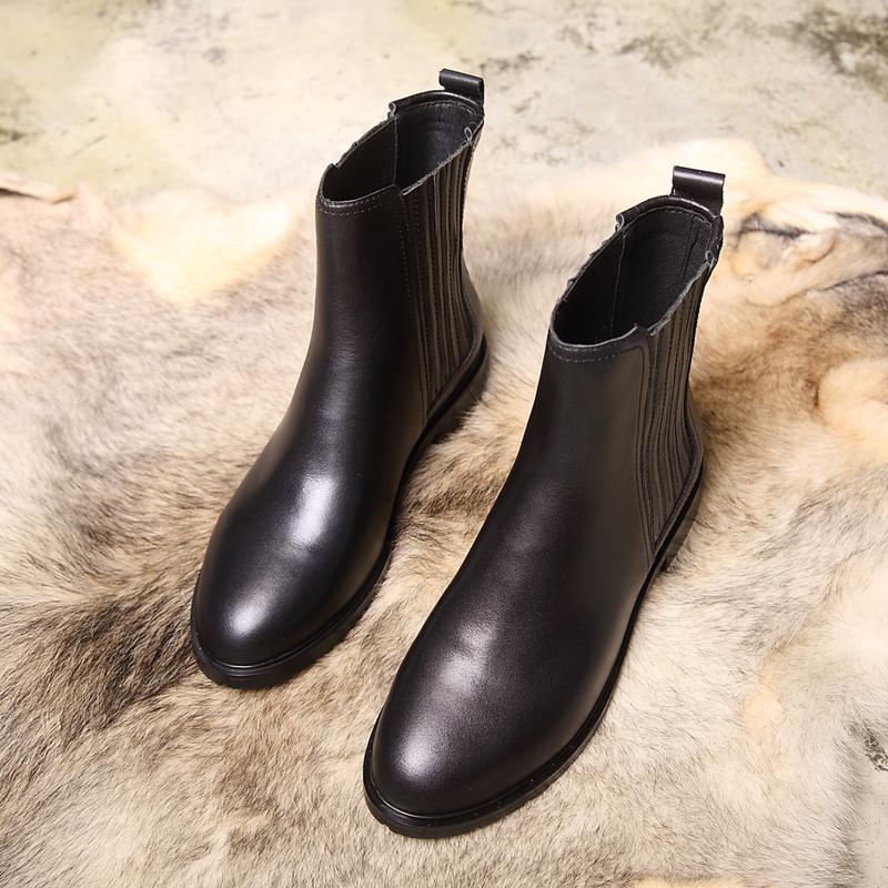 圆头短靴 2018冬季牛皮低跟粗跟圆头切尔西短靴加绒单靴子女真皮大码40-43_推荐淘宝好看的女圆头短靴