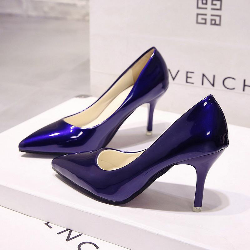漆皮高跟单鞋 欧美7cm蓝色细跟高跟鞋尖头亮面中跟婚鞋性感黑色漆皮工作单鞋女_推荐淘宝好看的女漆皮高跟单鞋