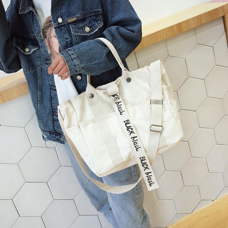 旅行帆布包 帆布包女单肩包韩国ins斜跨包百搭大容量旅行包学生包文艺环保袋_推荐淘宝好看的女旅行帆布包
