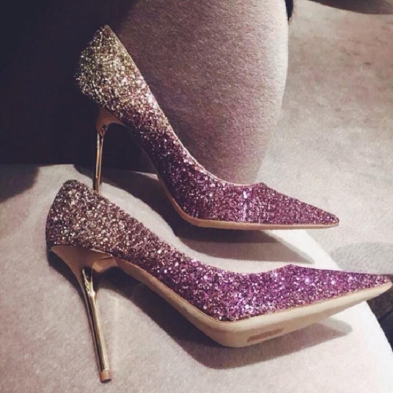高跟rv鞋子 rv迪奥菲德新款浅口亮片细跟伴娘鞋高跟尖头婚鞋性感渐变色女鞋子_推荐淘宝好看的高跟rv鞋子