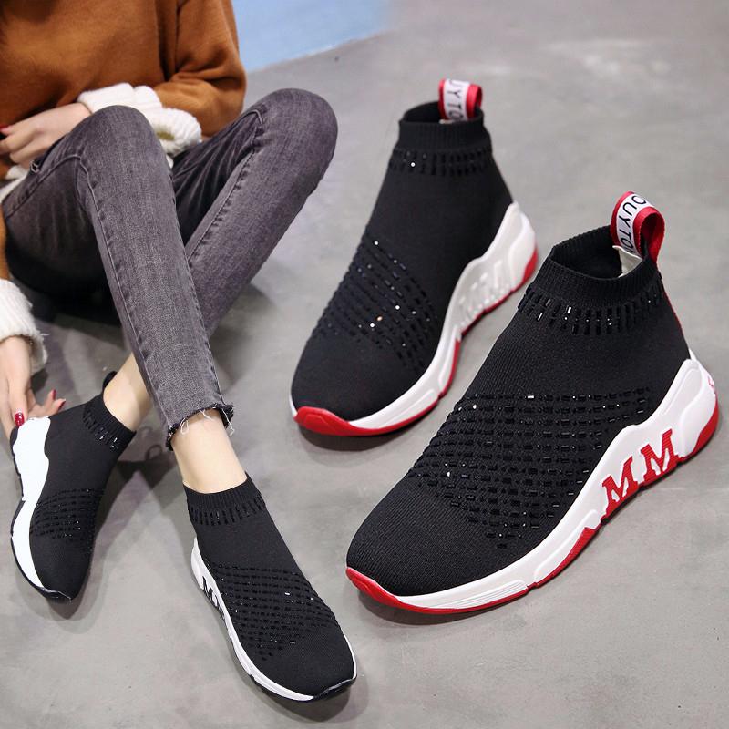 红色运动鞋 健身房运动鞋女新款韩版黑色弹力袜子鞋学生红色高帮厚底松糕鞋女_推荐淘宝好看的红色运动鞋