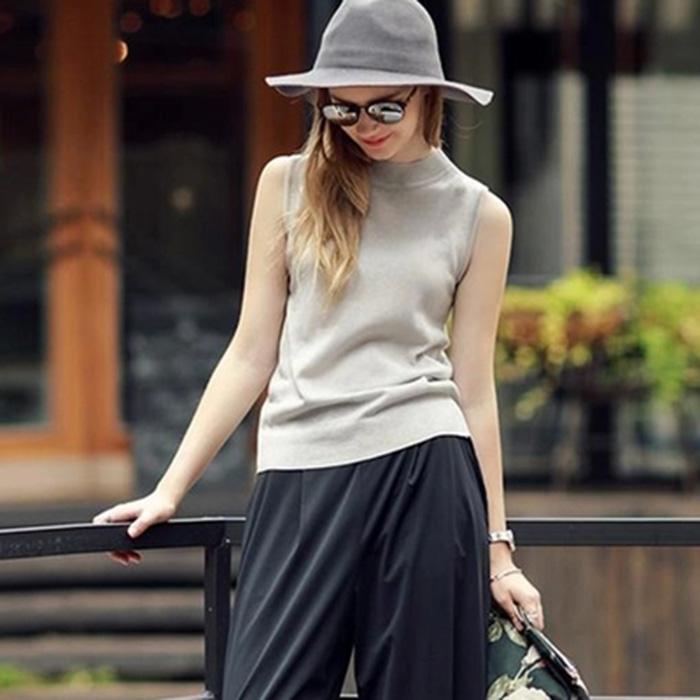 白色针织衫 2017欧美女装新款半高领无袖背心针织衫女套头修身打底衫上衣薄款_推荐淘宝好看的白色针织衫