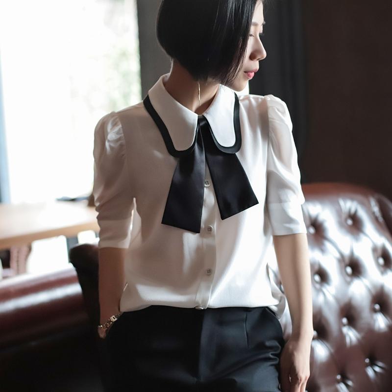 撞色衬衫 18夏新款欧美双层领真丝衬衫女短袖 撞色飘带 泡泡袖白色衬衣女_推荐淘宝好看的女撞色衬衫