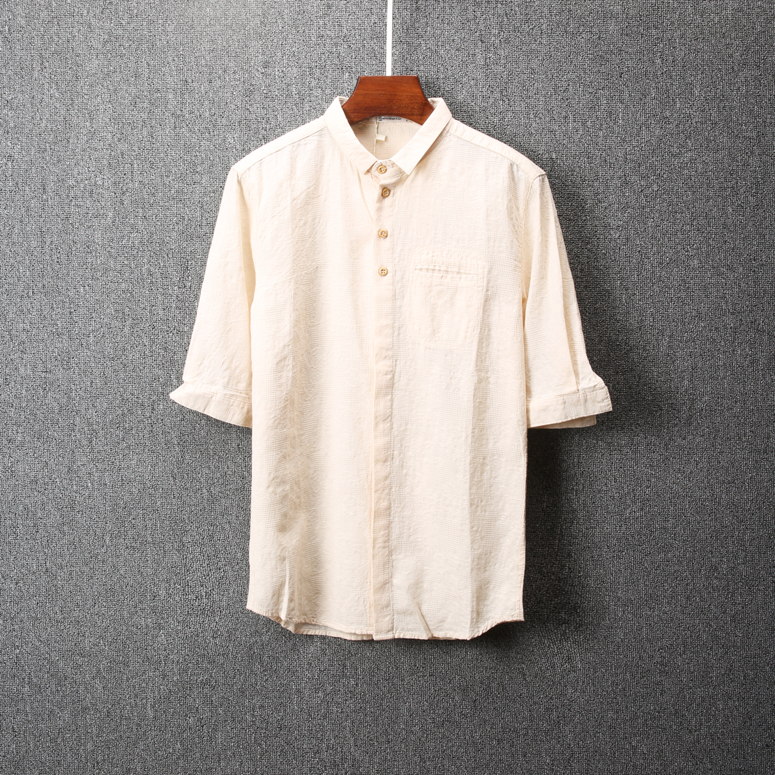 男衬衫 2017夏季新款男士潮流短袖衬衫修身青年薄款翻领衬衣休闲寸衫1536_推荐淘宝好看的男衬衫