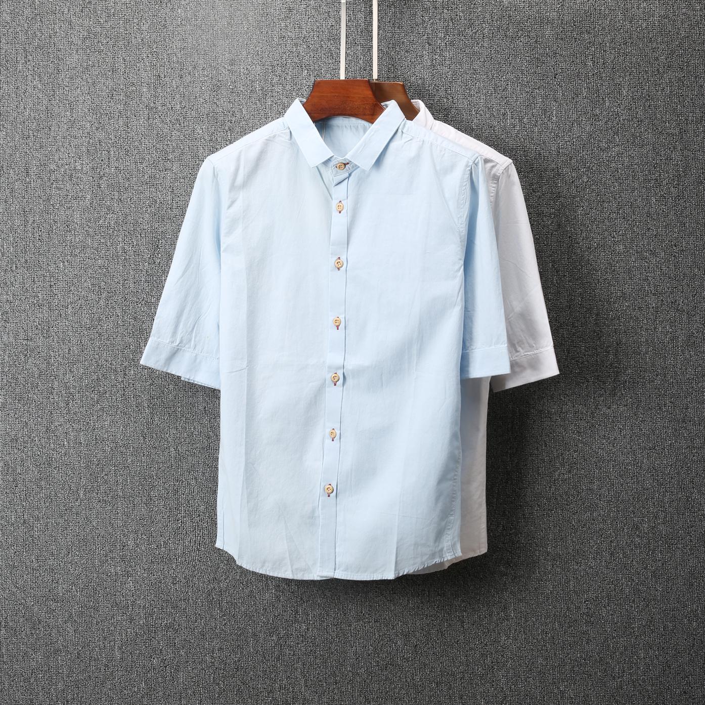 男士修身衬衫 韩版夏季新款男装纯色短袖衬衫时尚修身百搭青年帅气衬衣-1511_推荐淘宝好看的男修身衬衫