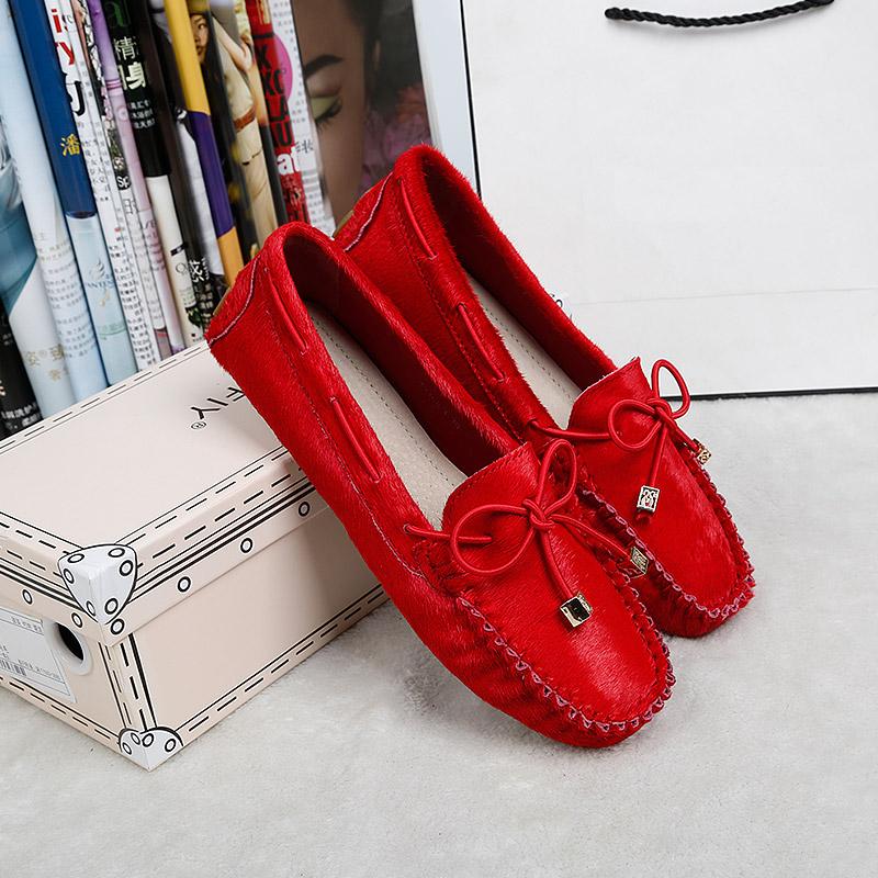 红色豆豆鞋 2018春秋马毛豆豆鞋女真皮大码休闲红色单鞋平跟孕妇鞋懒人平底鞋_推荐淘宝好看的红色豆豆鞋