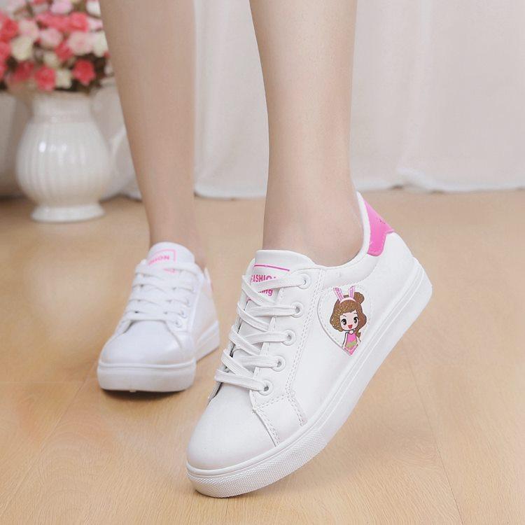 运动鞋 女童中大童跑步鞋白色板鞋旅游鞋系鞋带小白鞋中小学生儿童运动鞋_推荐淘宝好看的女运动鞋
