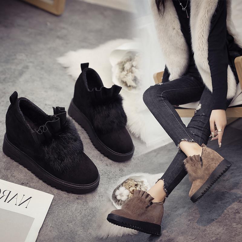 磨砂豆豆鞋 欧洲站毛毛鞋女冬外穿8cm内增高磨砂加绒豆豆鞋坡跟厚底松糕棉鞋_推荐淘宝好看的女磨砂豆豆鞋