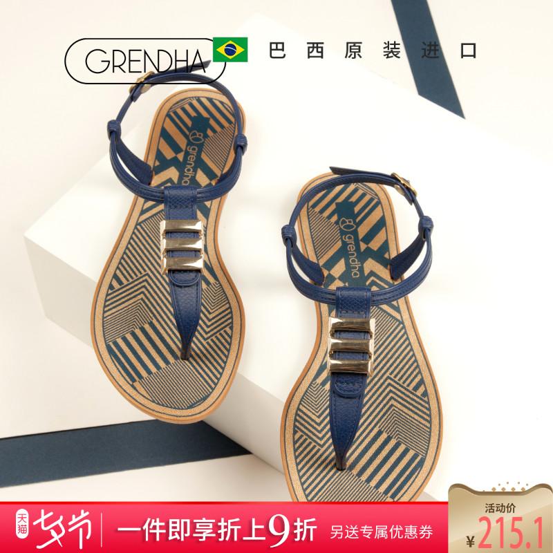 平底凉鞋 GRENDHA巴西进口新款非凡系列夹趾凉鞋平底女士罗马沙滩凉鞋百搭_推荐淘宝好看的女平底凉鞋