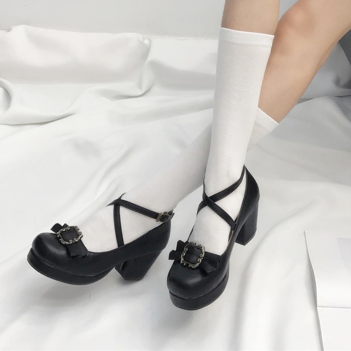 粗跟高跟鞋 QB加软日系森女lolita洛丽塔高跟鞋圆头粗跟可拆蝴蝶结LO女单鞋子_推荐淘宝好看的女粗跟高跟鞋
