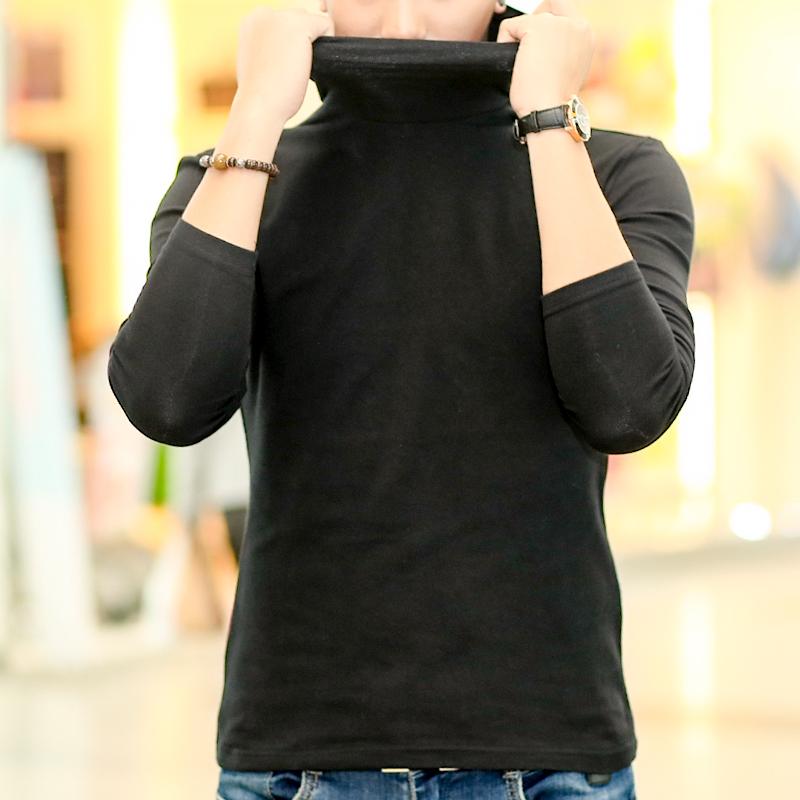 男士纯棉T恤 秋冬装男士纯棉长袖高领纯棉加厚T恤修身打底衫紧身弹力内衣大码_推荐淘宝好看的男士纯棉T恤
