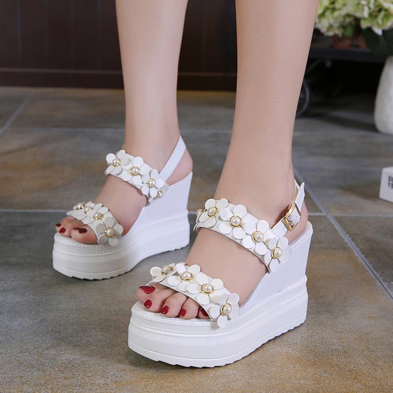 白色高跟凉鞋 超高跟坡跟凉鞋女夏季2018新款韩版学生简约露趾百搭白色厚底女鞋_推荐淘宝好看的女白色高跟凉鞋