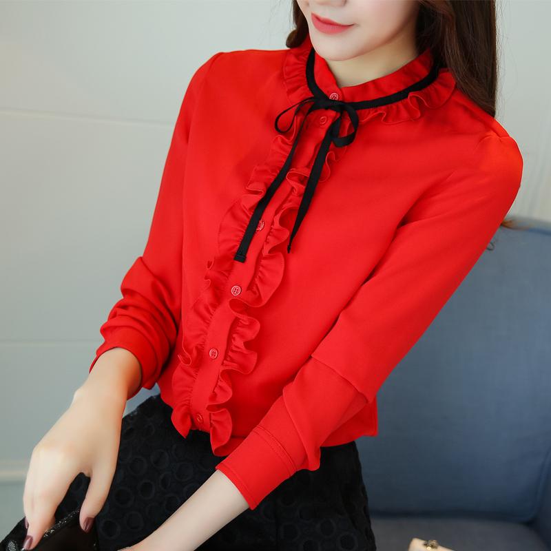 红色雪纺衫 春秋新款大码女装宽松蝴蝶结胖mm大红色雪纺衫上衣衬衫长袖打底衫_推荐淘宝好看的红色雪纺衫