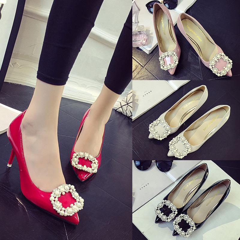 红色高跟鞋 欧美春季尖头细跟女鞋中跟单鞋水钻方扣高跟鞋红色婚鞋黑色工作鞋_推荐淘宝好看的红色高跟鞋