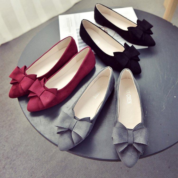 红色尖头鞋 2018春季新款蝴蝶结尖头平底鞋秋鞋浅口黑色红色平跟单鞋大码女鞋_推荐淘宝好看的红色尖头鞋