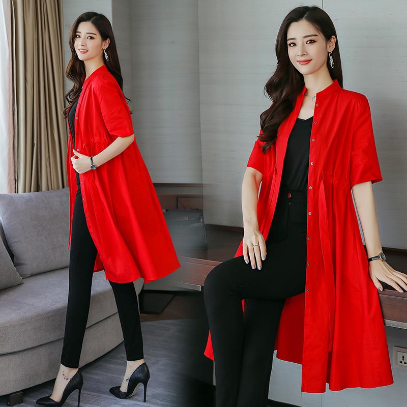 红色风衣 薄款风衣女中长款2018春夏装收腰显瘦韩版单层中袖夏季空调衫外套_推荐淘宝好看的红色风衣