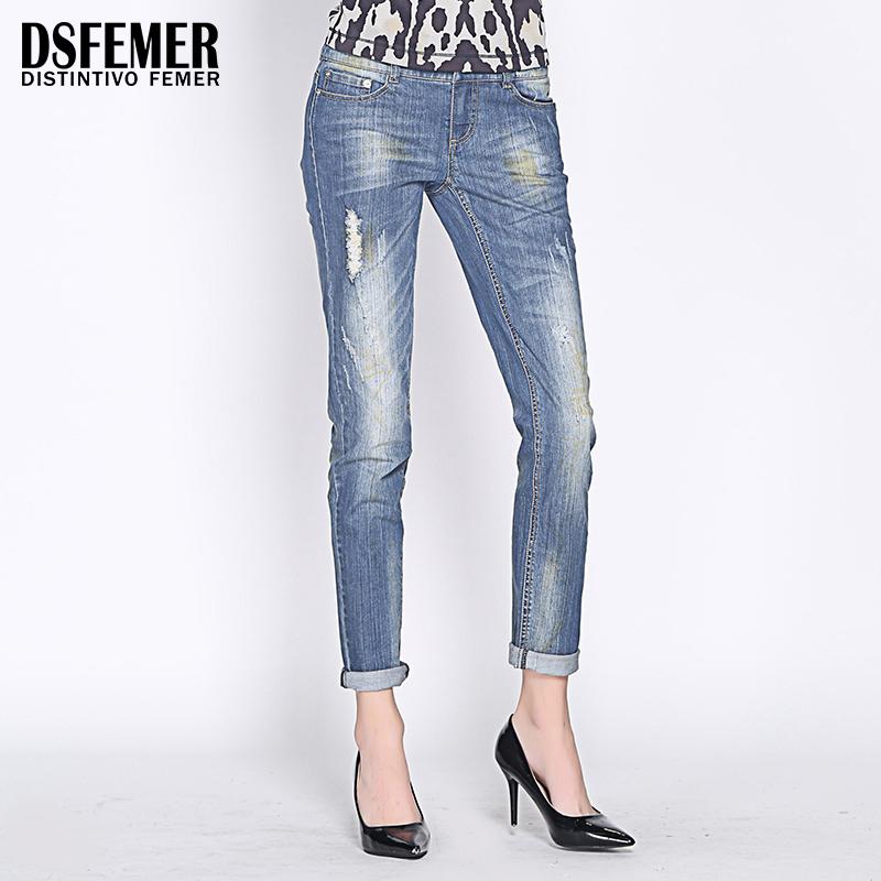 做旧低腰牛仔裤 DSFEMER专柜正品原创设计 蓝色经典复古破洞磨白做旧精致女牛仔裤_推荐淘宝好看的女做旧低腰牛仔裤